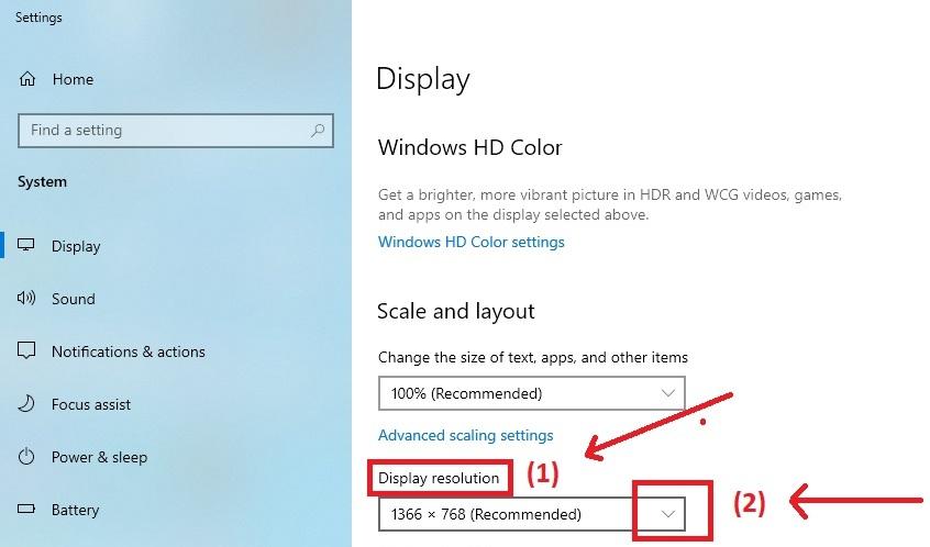 tìm mục độ phân giải màn hình windows 10