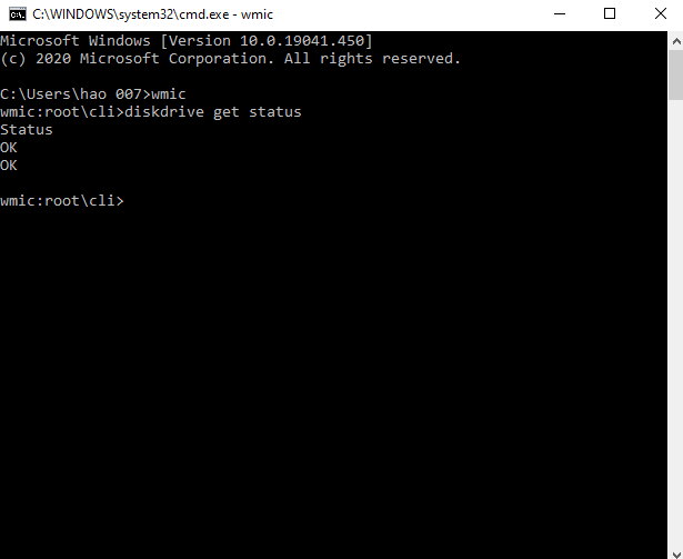 kiểm tra ổ cứng bằng cmd