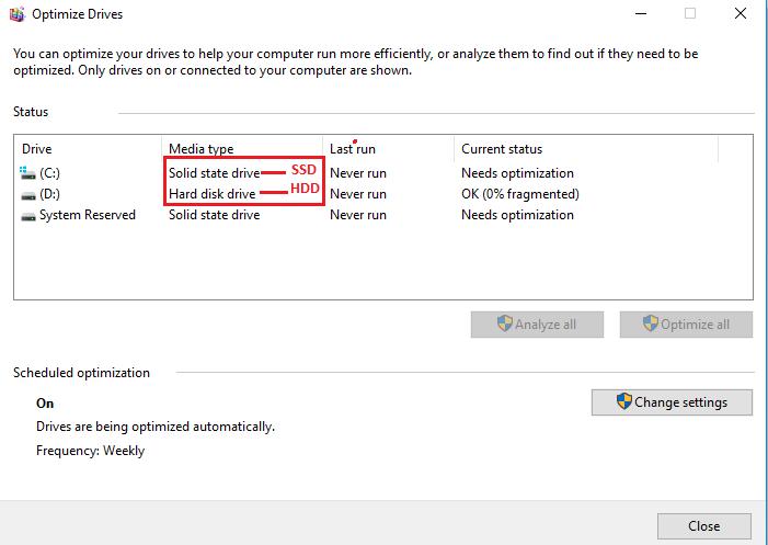 Dùng Defragment and Optimize Drvier xem ổ cứng là SSD hay HDD 2