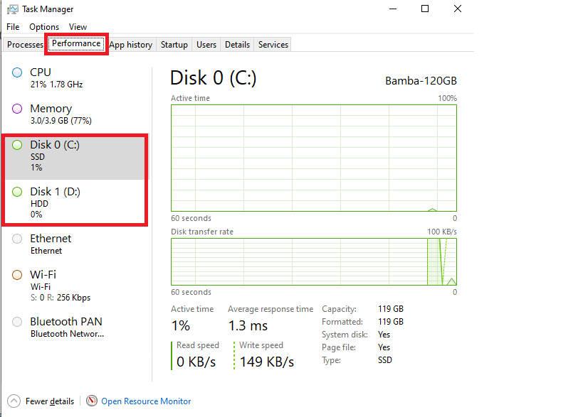 Kiểm tra ổ cứng ssd hay hdd bằng Task Manager