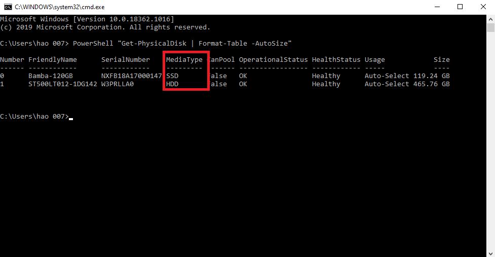 Kiểm tra ổ cứng laptop là SSD hay hdd bằng cmd