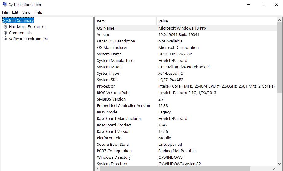 kiểm tra cấu hình máy tính dùng lệnh msinfo32