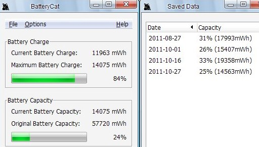 phần mềm kiểm tra pin laptop BatteryCat