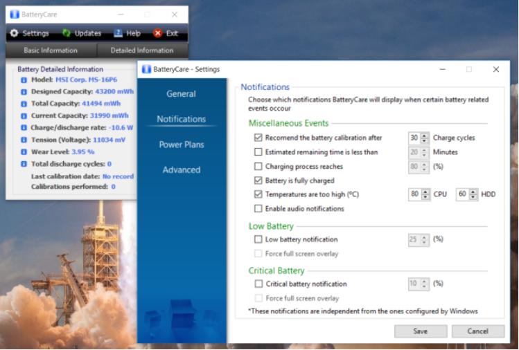 Phần mềm test pin laptop BatteryCare